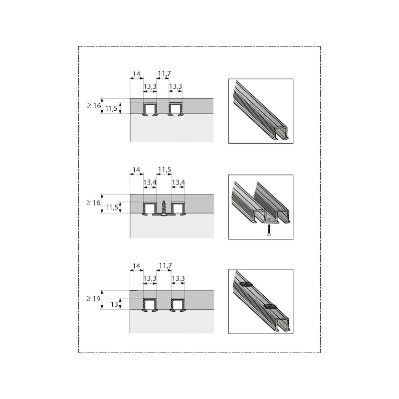 Einfachlaufschiene zum Einkleben SysLine S - 2