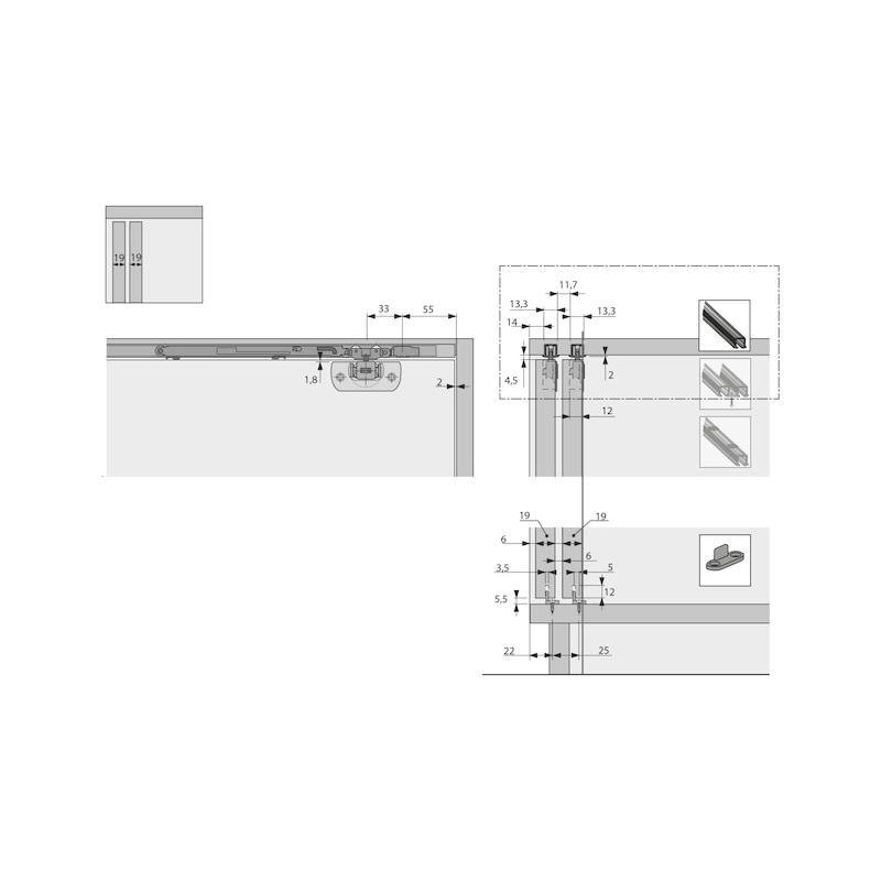 Einfachlaufschiene zum Einkleben SysLine S - 1