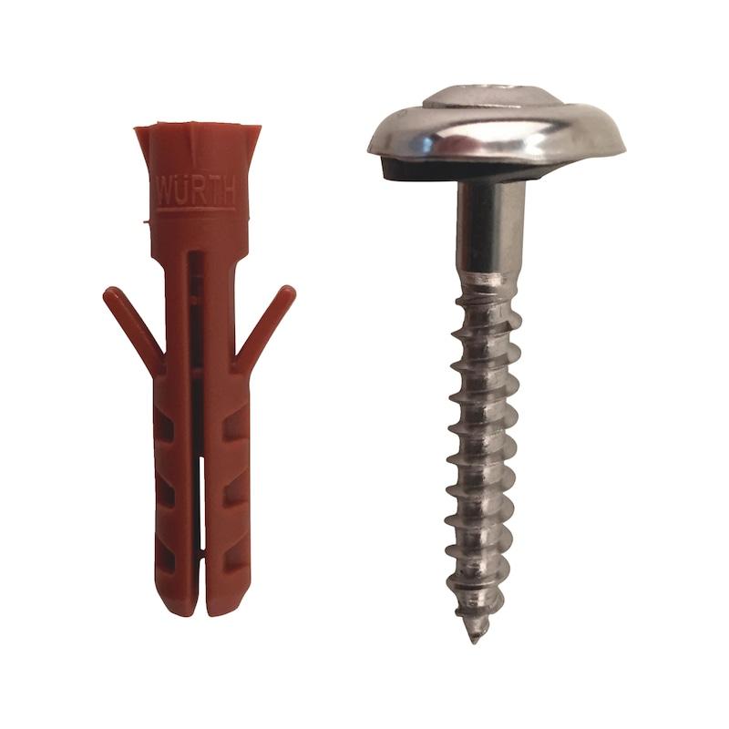 Spenglerdichtschraube mit Scheibe und Dübel