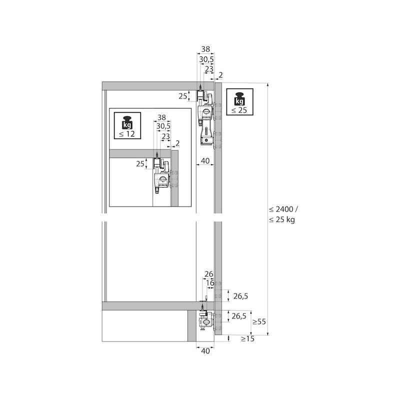 Falttürbeschlag ohne unterer Führunhg ohne Schließautomatik WingLine L - 10
