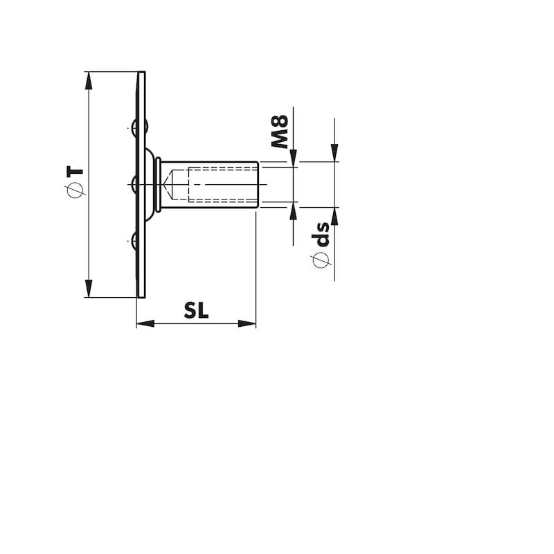 Gitterrostbefestiger W-GBR M8 - 2