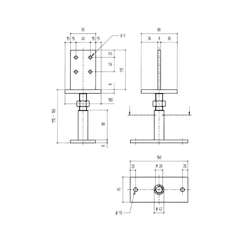 Pfostenträger D-S-H/TZN - PFOSTTRG-DBL-TZN-SCHWERT110-(H110-180)
