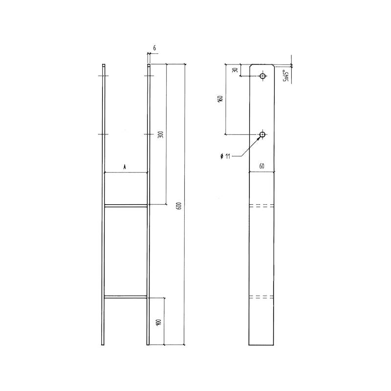 Pfostenträger BP-H/TZN - PFOSTTRG-BETB-TZN-(H-FORM101)-H600