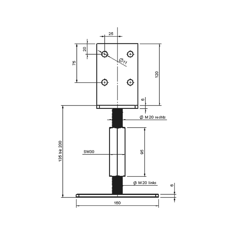 Pfostenträger D-S-H/R3R - 4