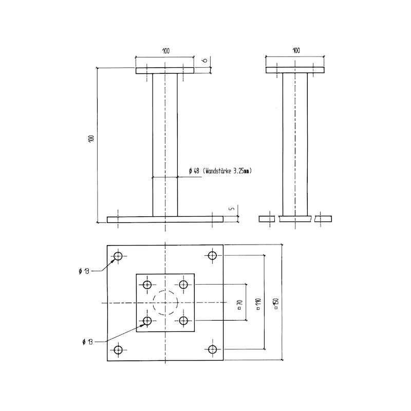 Pfostenträger D-F/TZN - PFOSTTRG-DBL-TZN-FLACH-H100