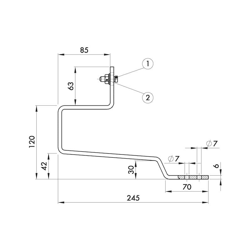 Dakhaak beverstaart - ROOFHOK-A2-CROWNTILE-CLMP30X6MM