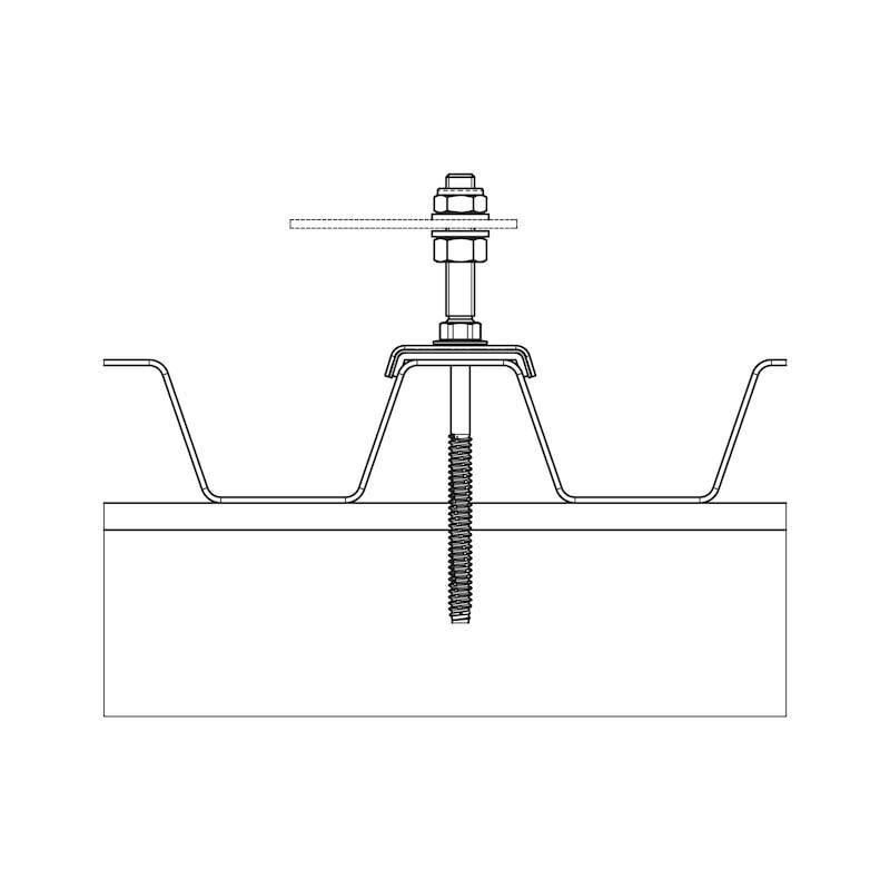 Solarbefestiger WSF Typ BZ-Variante 2 - SOLBEF-BZ-SHB19-A2-8,0X160-M10X50