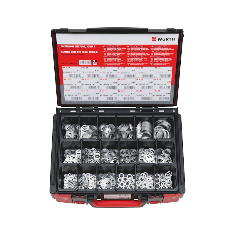 DIN 7603アルミニウム525ピースSysko - シールリングセット アルミDIN7603-ALU-A-525PCS-SYSKO