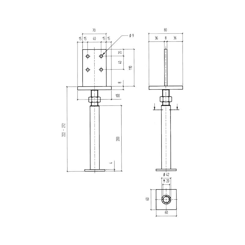 Pfostenträger BP-S-H/TZN - 2
