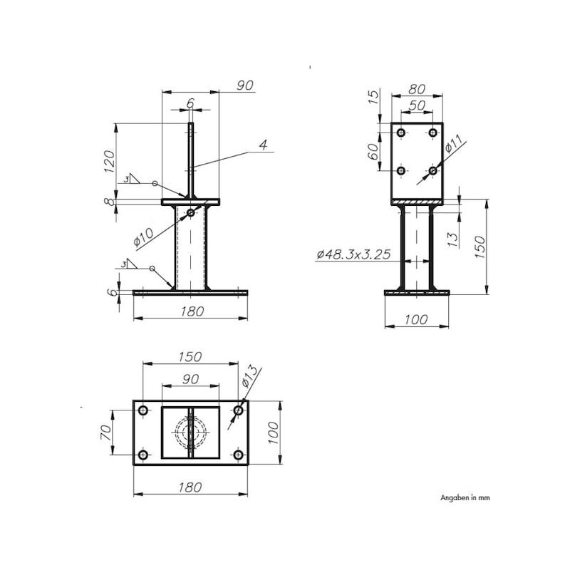 Pfostenträger D-S/TZN - PFOSTTRG-DBL-TZN-SCHWERT120-H150