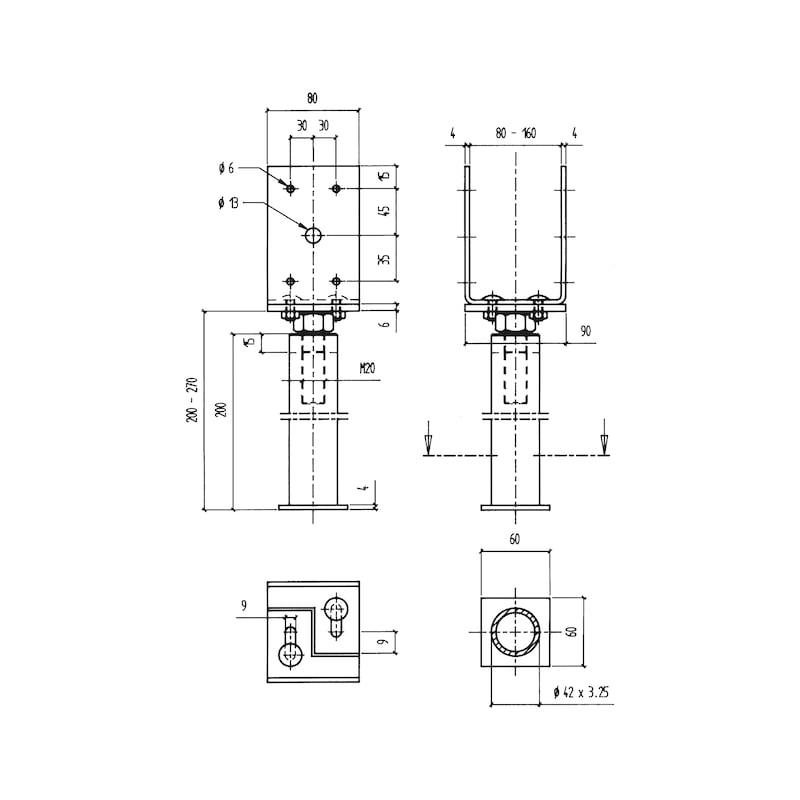 Pfostenträger BP-G-H/TZN - PFOSTTRG-BETB-TZN-(GBL80-160)-(H210-280)