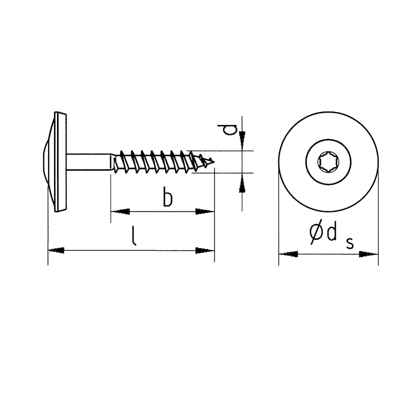 Plumber's sealing screw, A2 stainless steel - SCR-RAICS-WSH20-A2-AW20-5X300