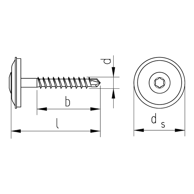Plumber's sealing screw pias<SUP>®</SUP> - SCR-DRLBIT-WSH15-A2-AW20-4,5X25