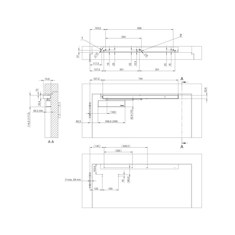 Elektromagnetische Feststellanlage einflügelig Bandgegenseite mit GTS 640 G und integriertem Rauchmelder - 5