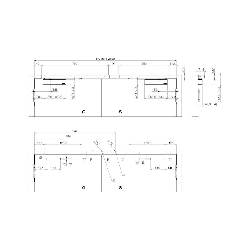 Elektromagnetische Feststellanlage zweiflügelig mit GTS 640 und integriertem Rauchmelder - 5