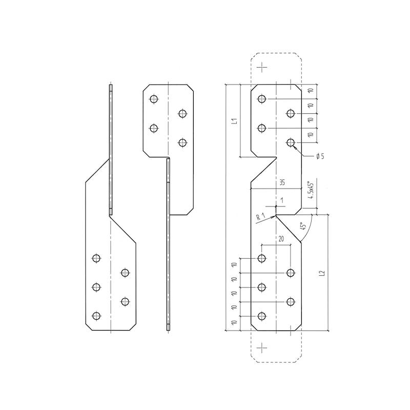 Sparrenpfettenanker Universal - SPARRPFETTANK-UNI-H210MM