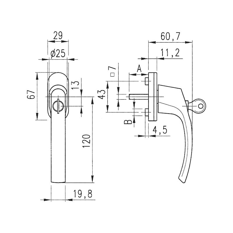 Fenstergriff ZD 403 abschließbar - FG-DK-ZD403-ABSHLB-2SHR-R8019-38-10