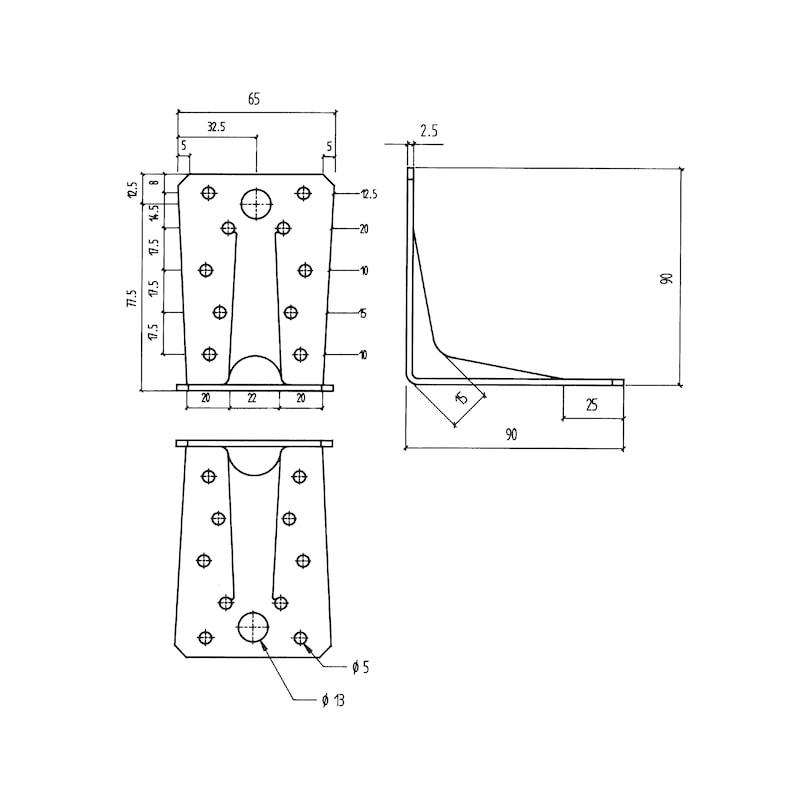 Angle connector Type A - ANGL-WOCON-A-BAR-90X90X65X2,5