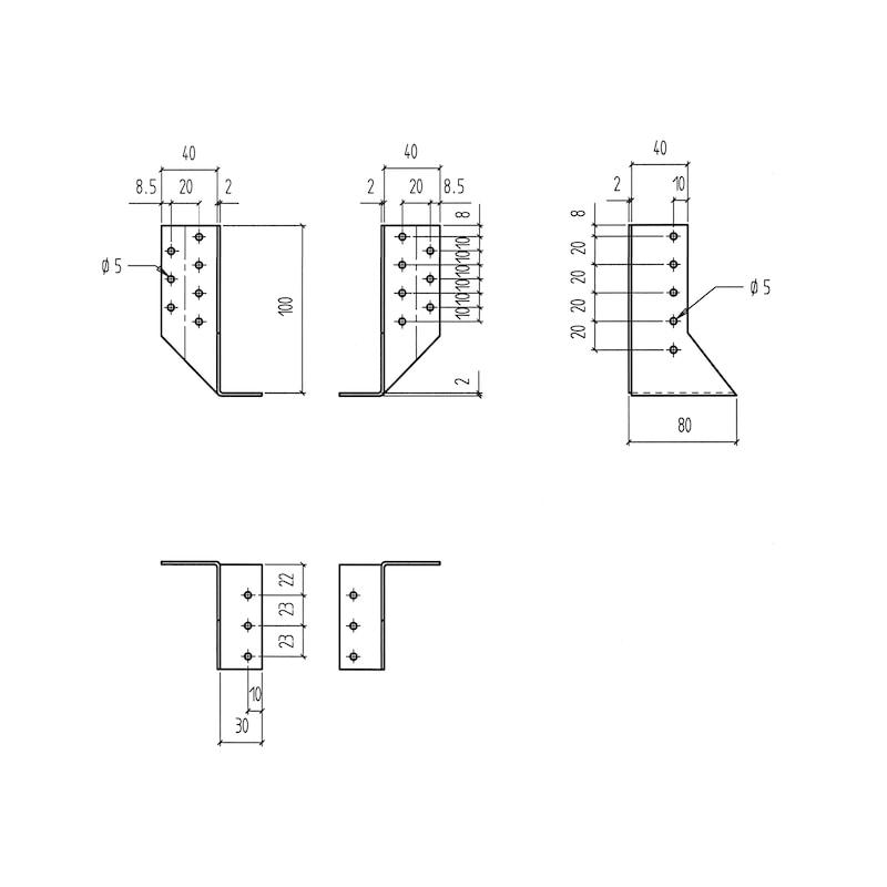 Balkenschuh 2,0 mm - BALKENSHH-2TLG-30X100X2,0