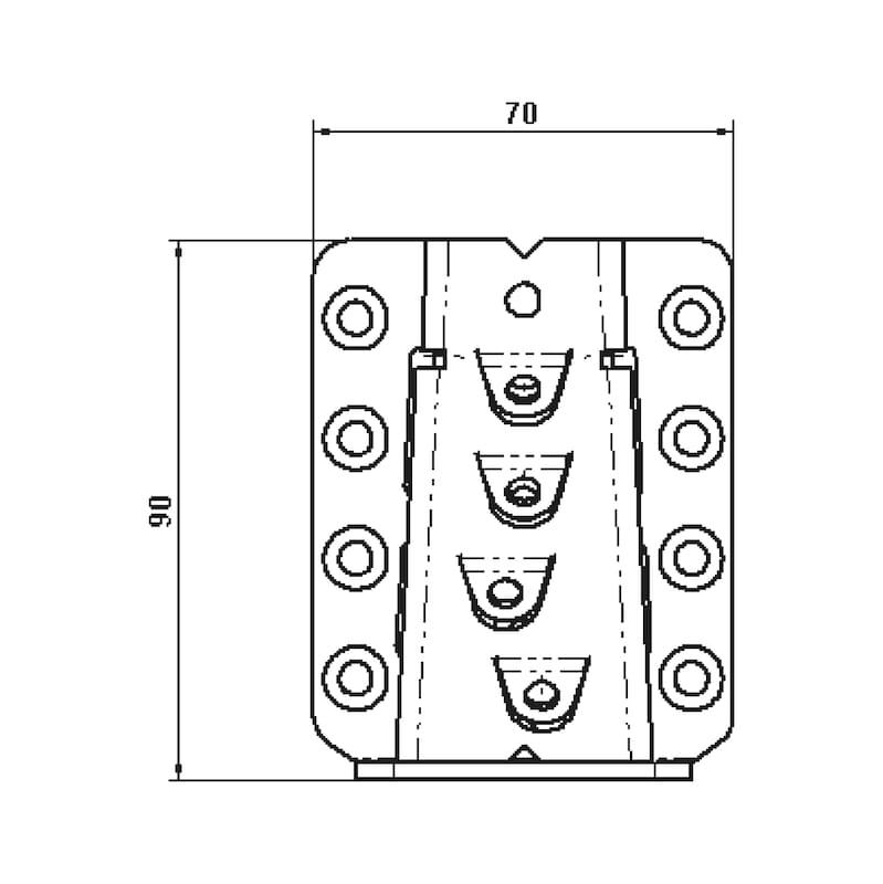 Unsichtbarer Balkenverbinder - VERB-HO-VERDECKT-70X150MM