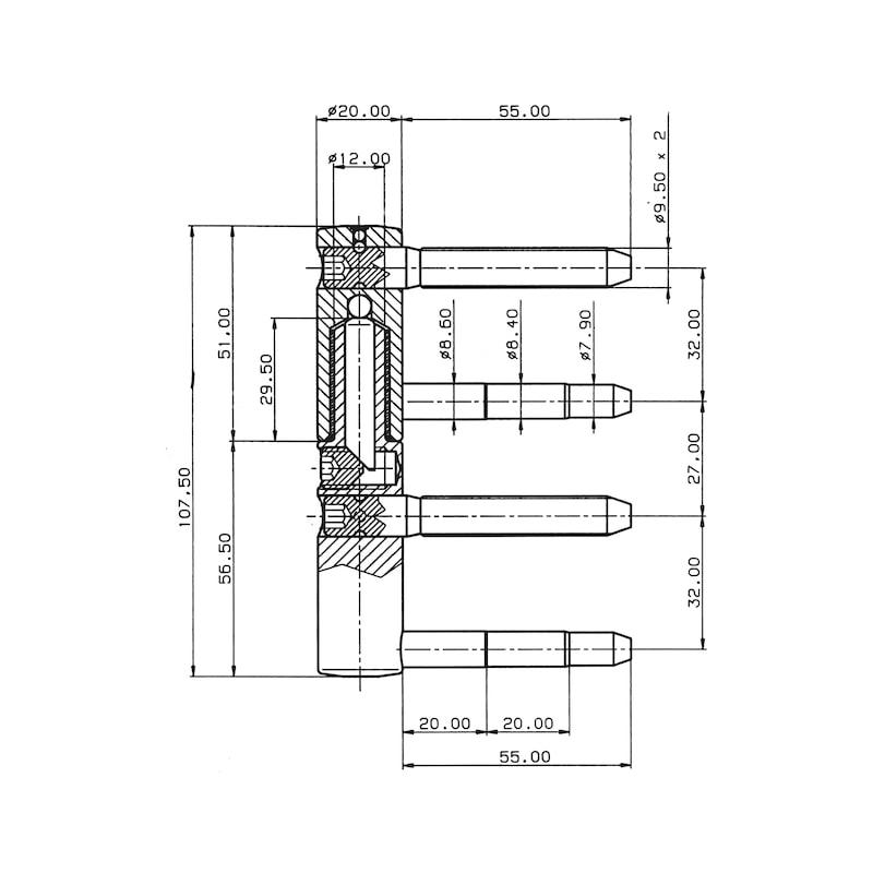 Cerniera 3D ∅ 20 mm - CERNIERA REGOLABILE DIAM. 20MM ZNB