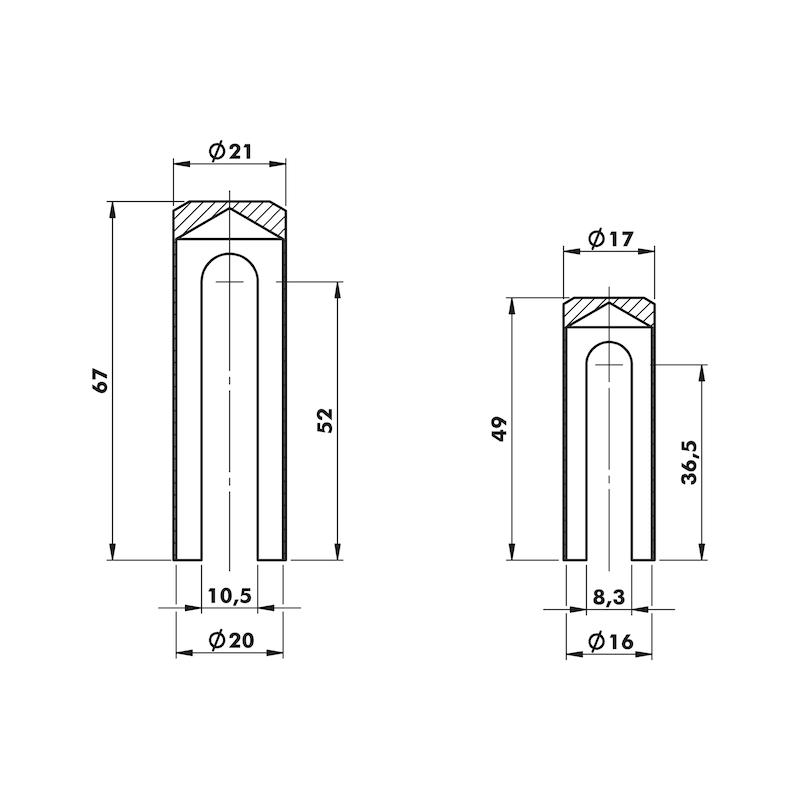 Tappo di copertura Per cerniere 3D - CAPPUCCI ALU NICHEL SAT.ANUBA 16MM