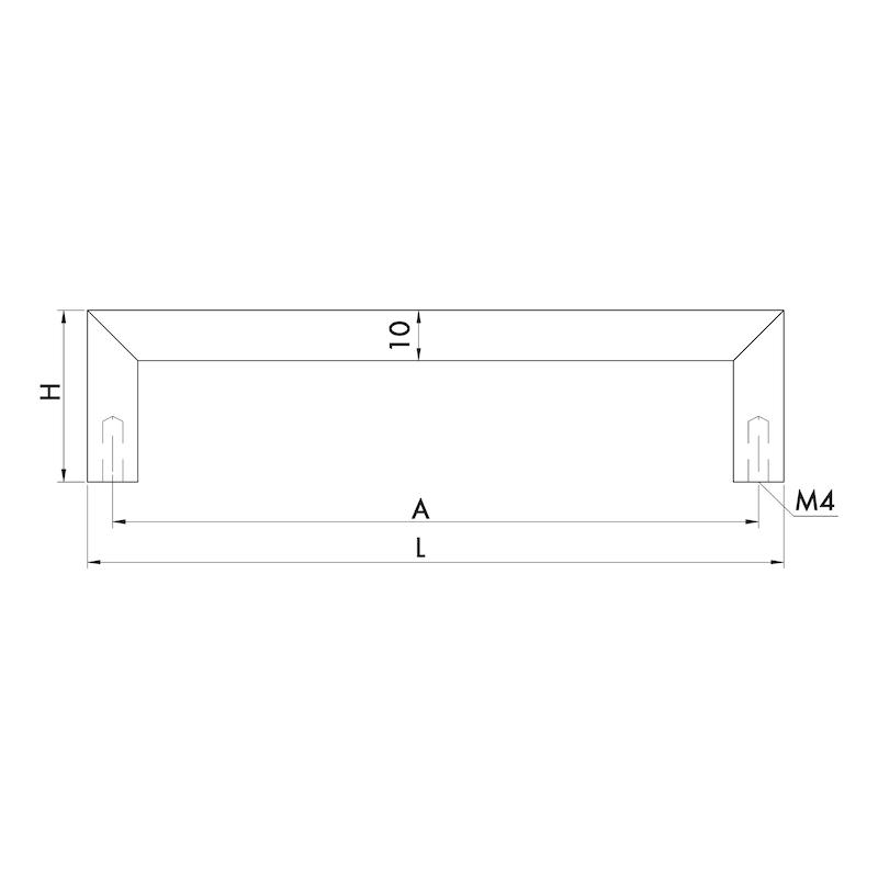 Design-Möbelgriff Bügelform MG-A 9 - GRF-BGL-(MG-A9)-GEBURST-MATT-128MM