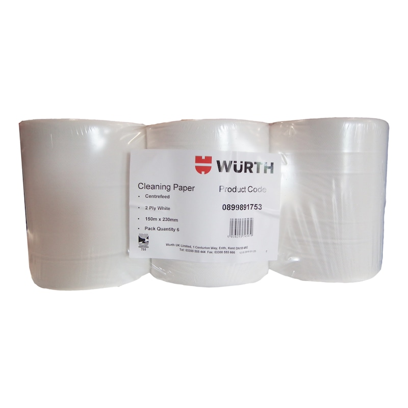 Cleaning equipment Paper towel roll - PAPTWL-2PLY-WHITE-230X150MM-417PCS