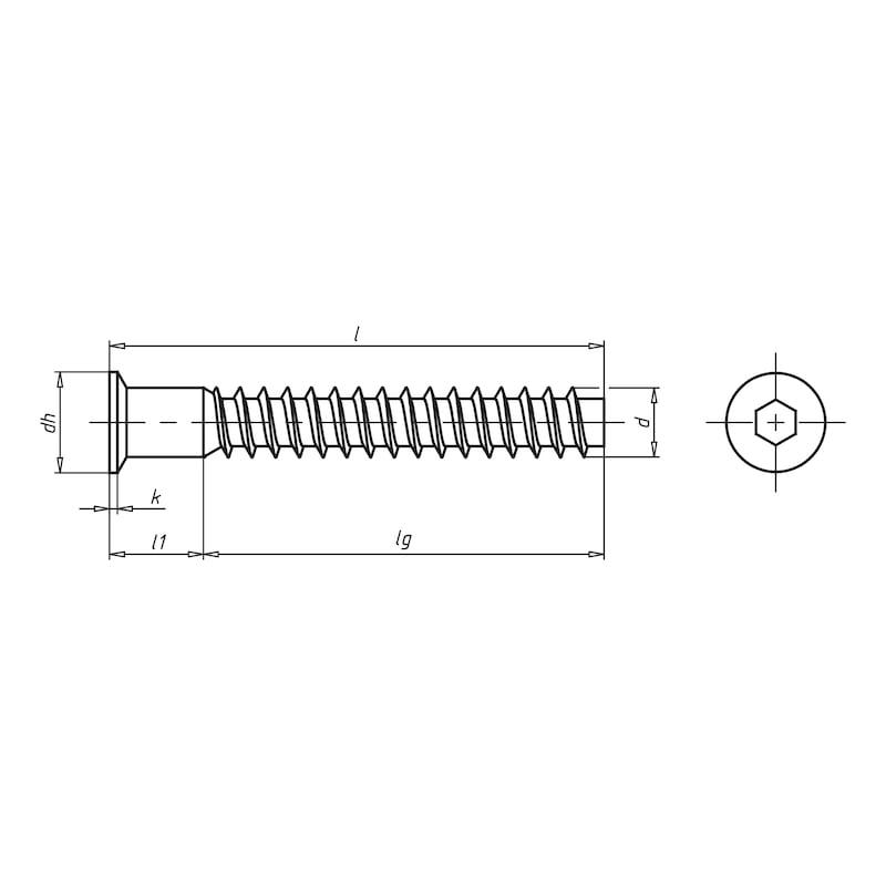 Köşe bağlantı vidası, çinko kaplı çelik - KÖŞE BAĞLANTI VİDASI-4.8-SW4(A2K)7X50
