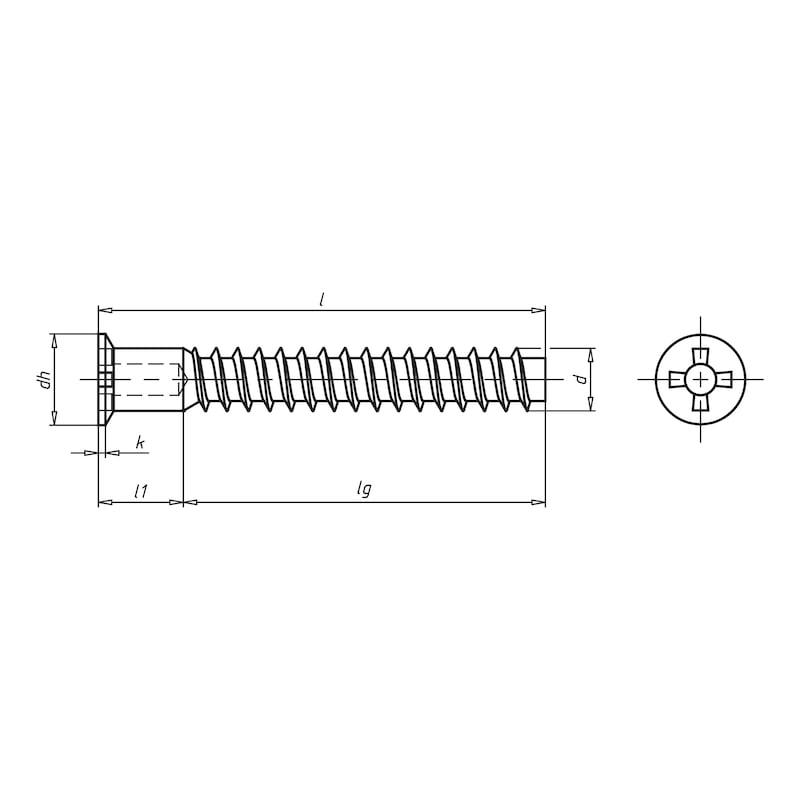 Eckverbinderschraube Senkkopf Z kopflochgebohrt - 2