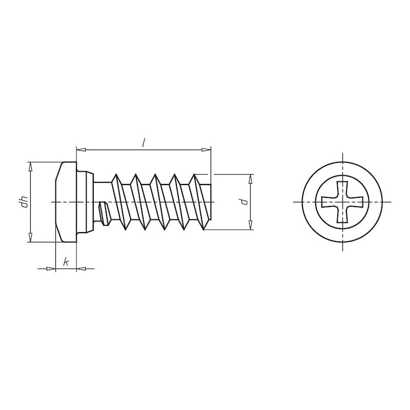 Euro-Schraube Linsenkopf Typ B - SHR-EURO-LIKPF-B-Z2-(A2K)-6,3X10