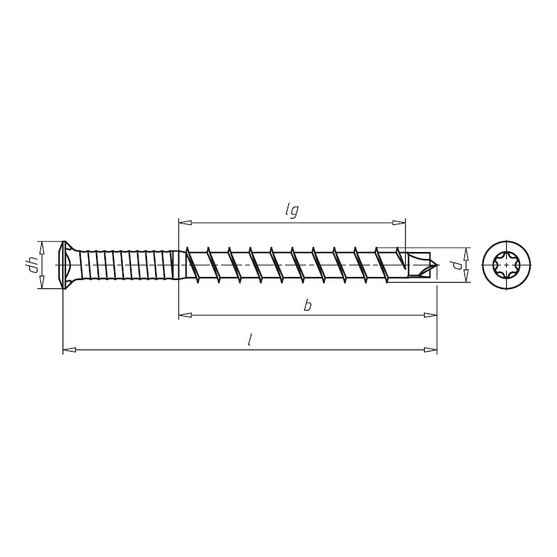 ASSY<SUP>®</SUP>plus A2 Decking construction screw - SCR-TERRAC-DBIT-CTRHD-A2-AW20-5,5X50/23