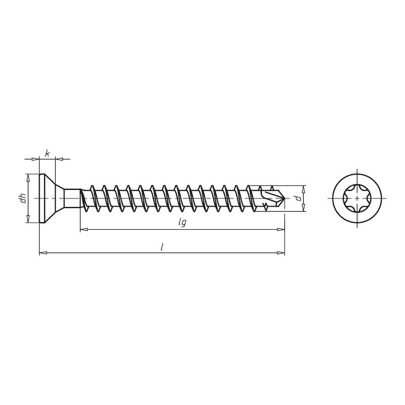 ASSY<SUP>®</SUP>plus FT, tête fraisée Vis pour construction bois - SCR-CS-WO-VG-AW50-(A3K)-10,0X400/372