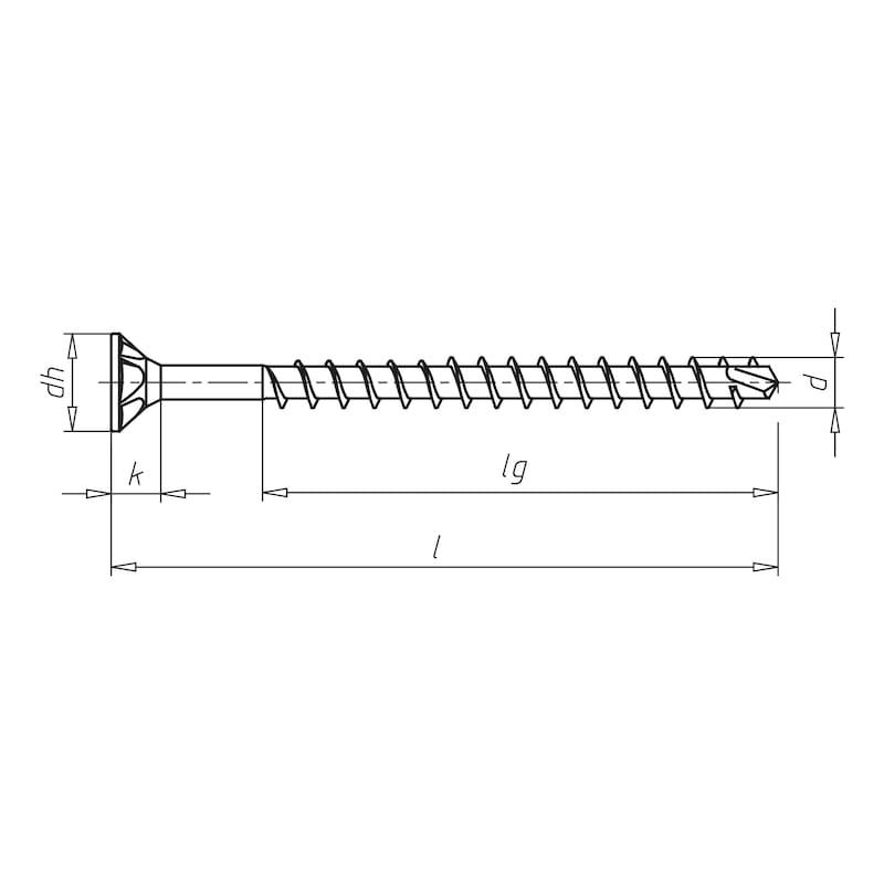ASSY<SUP>®</SUP>plus FT, tête fraisée autofraisante Vis pour construction bois - VIS-TC-BOIS-AW40-(A3K)-8,0X260/241