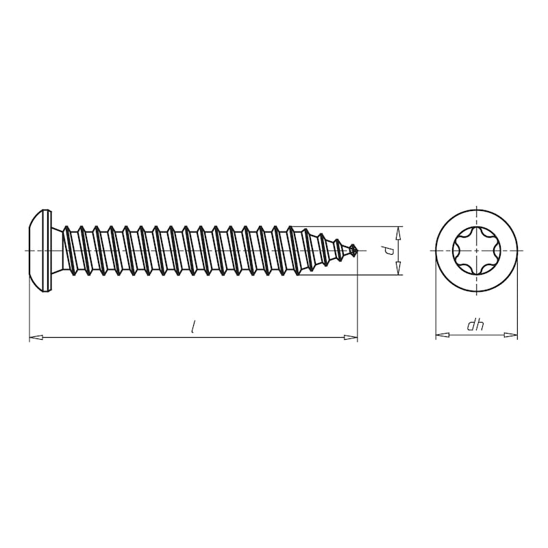 Amo<SUP>® </SUP>III spacing assembly screw 7.5 TYPE 3 half round head - SCR-PANHD-AW30-(A2K)-7,5X132