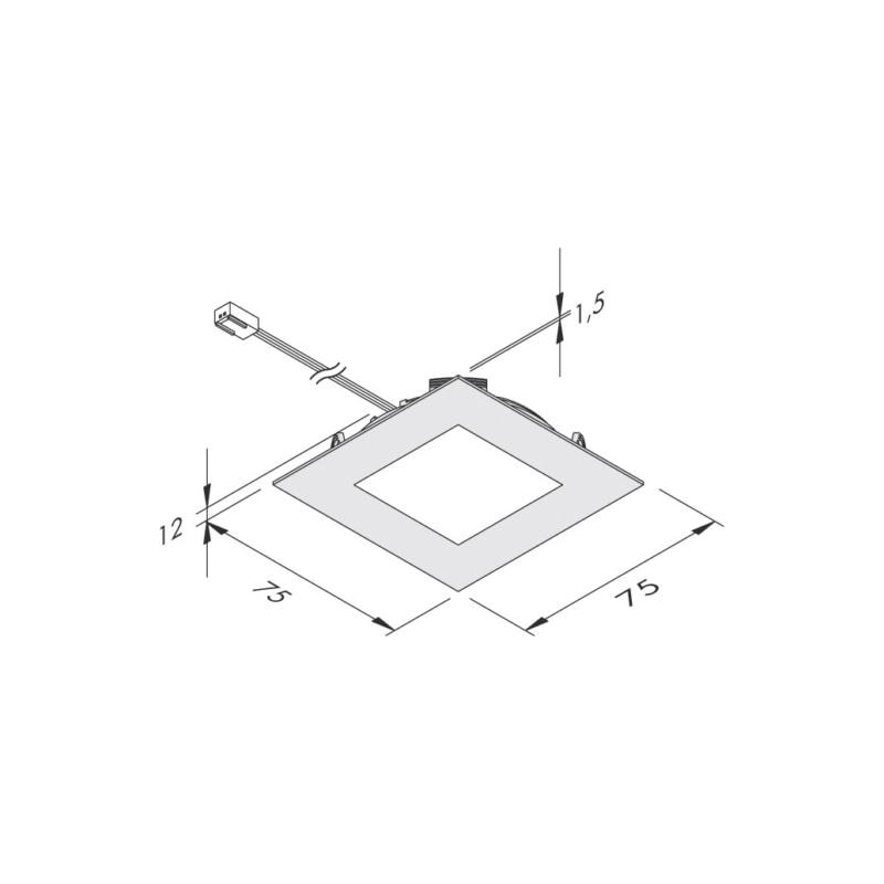 Spot LED carré 75 x 75 mm IP44 encastré ou en applique - 2