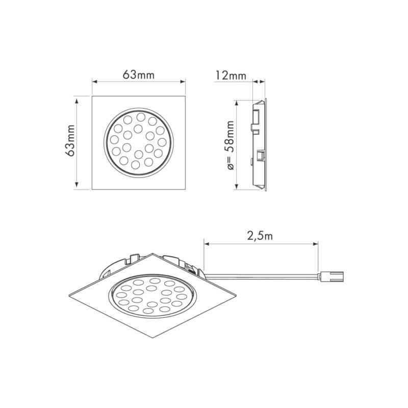 Spots LED carrés 63 x 63 mm encastrés - 2