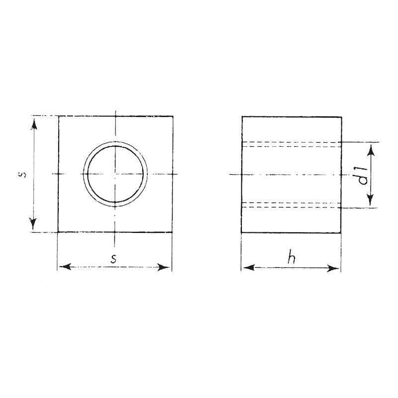 Ecrou carré à taraudage trapézoïdal en acier - 2