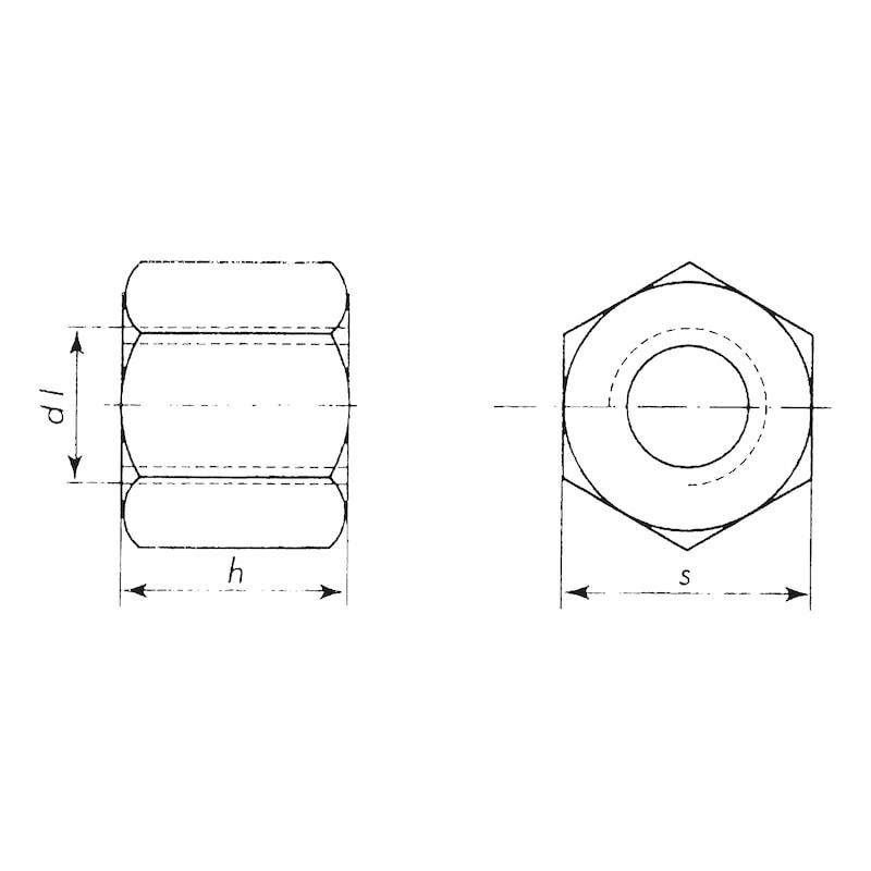 Ecrou six pans à taraudage trapézoïdal en acier - 2