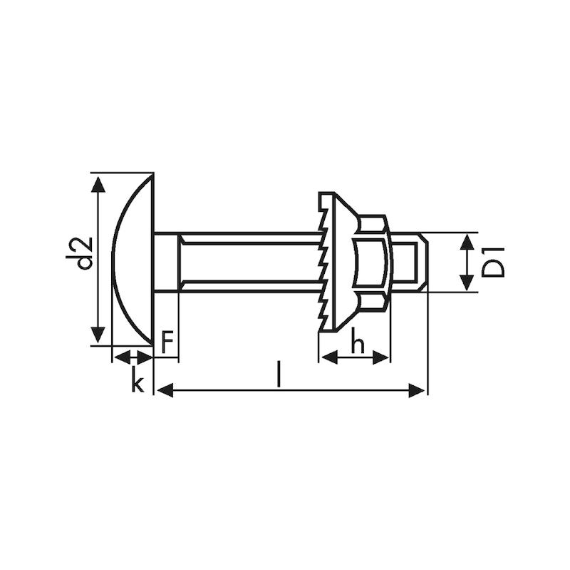 Boulon tête ronde bombée à collet carré TRCC - 3