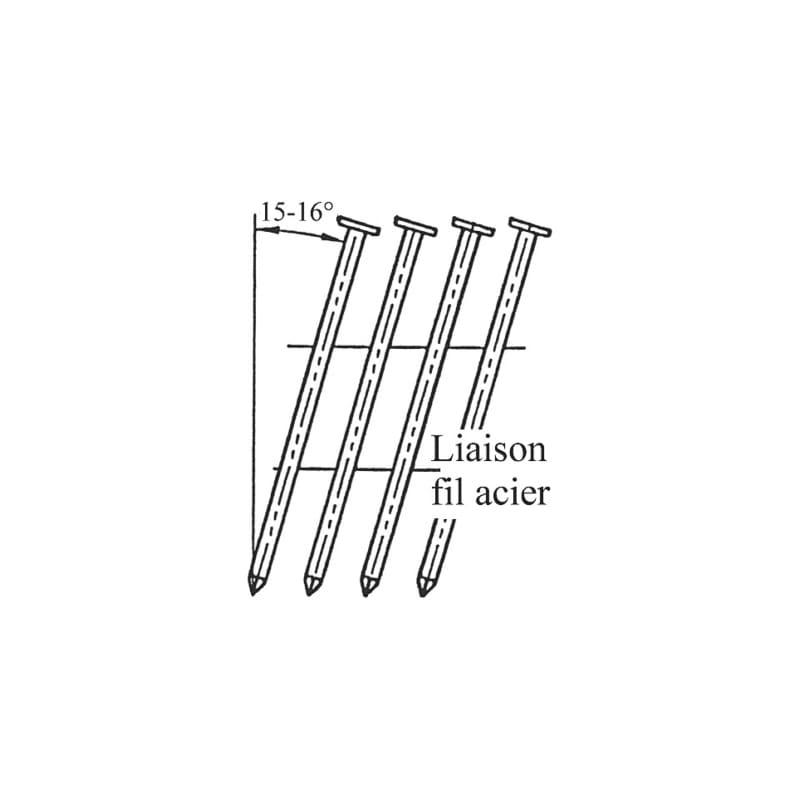 Pointes annelées tête plate galva 12µm 16° En rouleau - COILS 16 CLASS 2 GALVA 12M L50MM