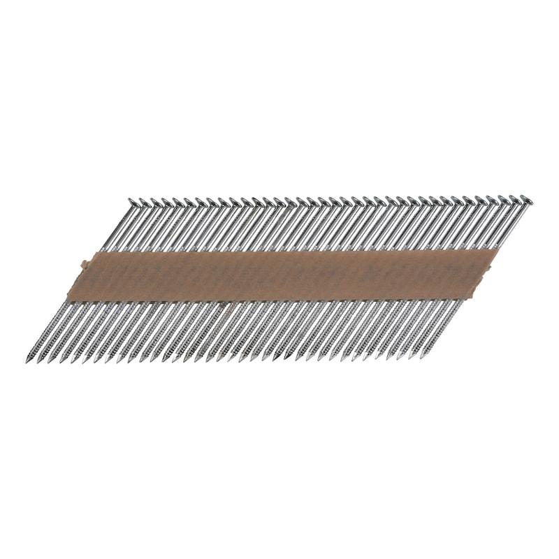 Pointes en bande 34° annelées tête plate galvanisée à chaud 12 µm Liaison papier - 1