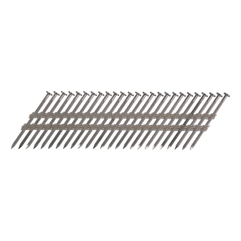 Pointes en bande 34° annelées tête plate ou bombée inox A2 - 6