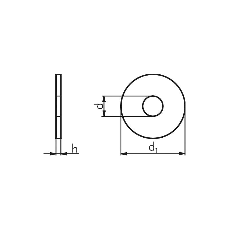 Karosseriescheibe aus unbeschichtetem Stahl nach DIN 522 - 2