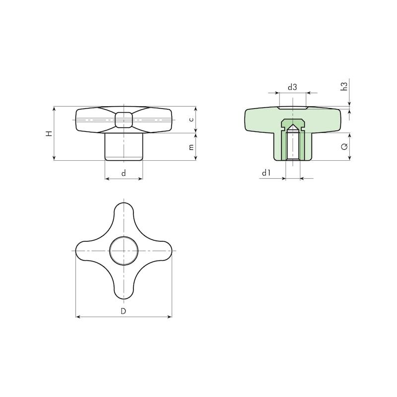 Kreuzgriff mit Gewindebuchse - KRZGRF-40-SCHW-BU-A1-M8