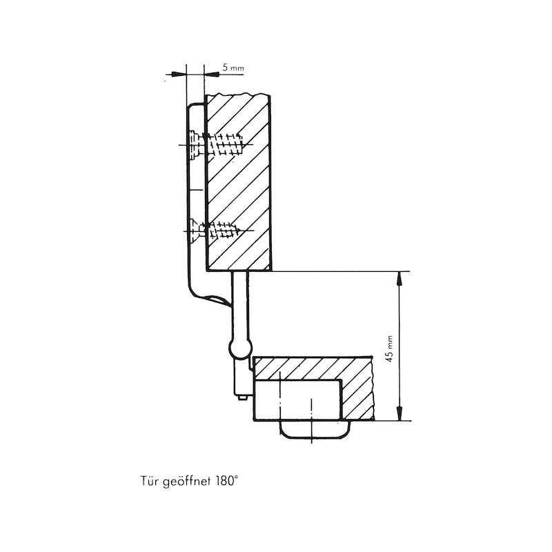 Objektscharnier - SHAN-ZD-ECKANSHLG-(NI)-180GRD