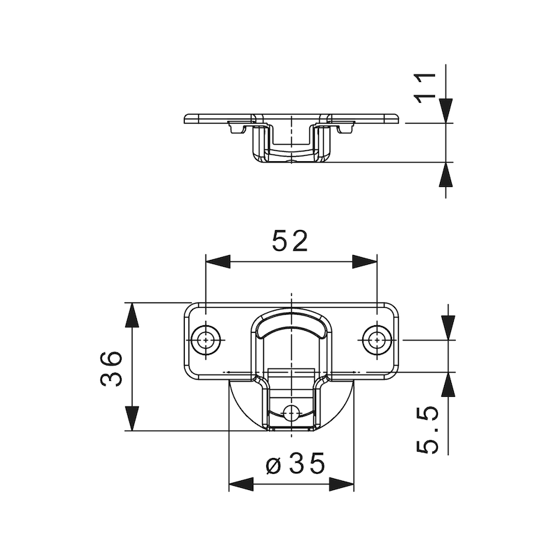 Topfscharnier Nexis Click-on 110 - SHAN-NEXCLON-ANSHRB52/5,5-ECK-110GRD