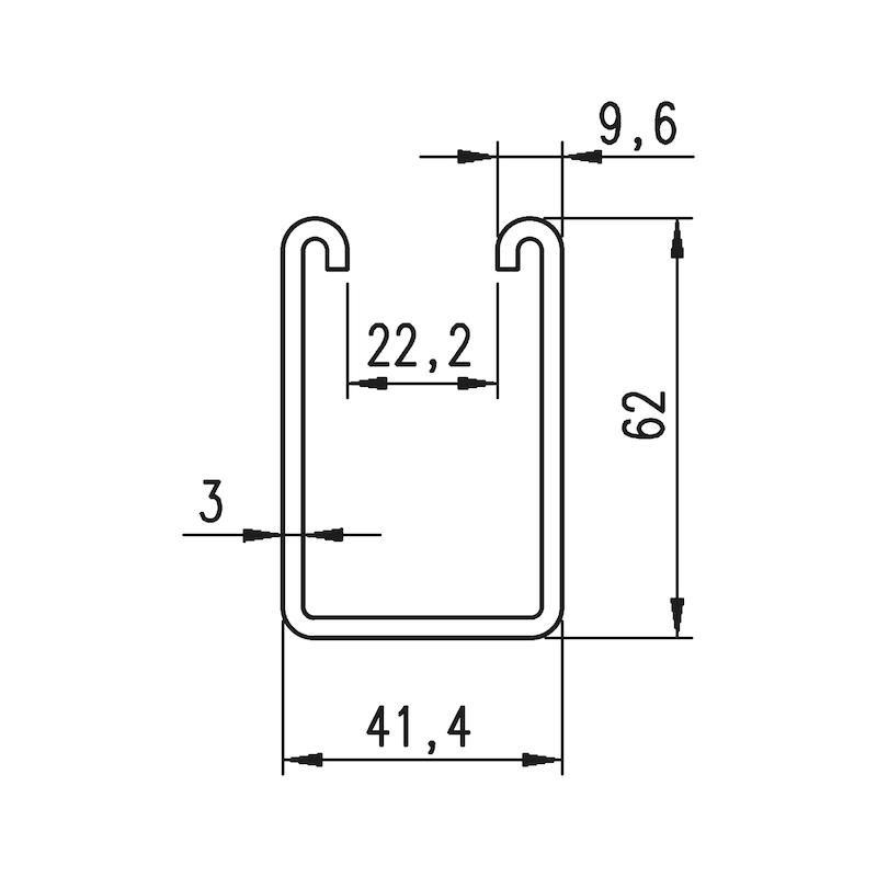 VARIFIX<SUP>® </SUP>C-Montageschiene 41/62 - MNTGSHN-C-41/62-A4-ST3,0