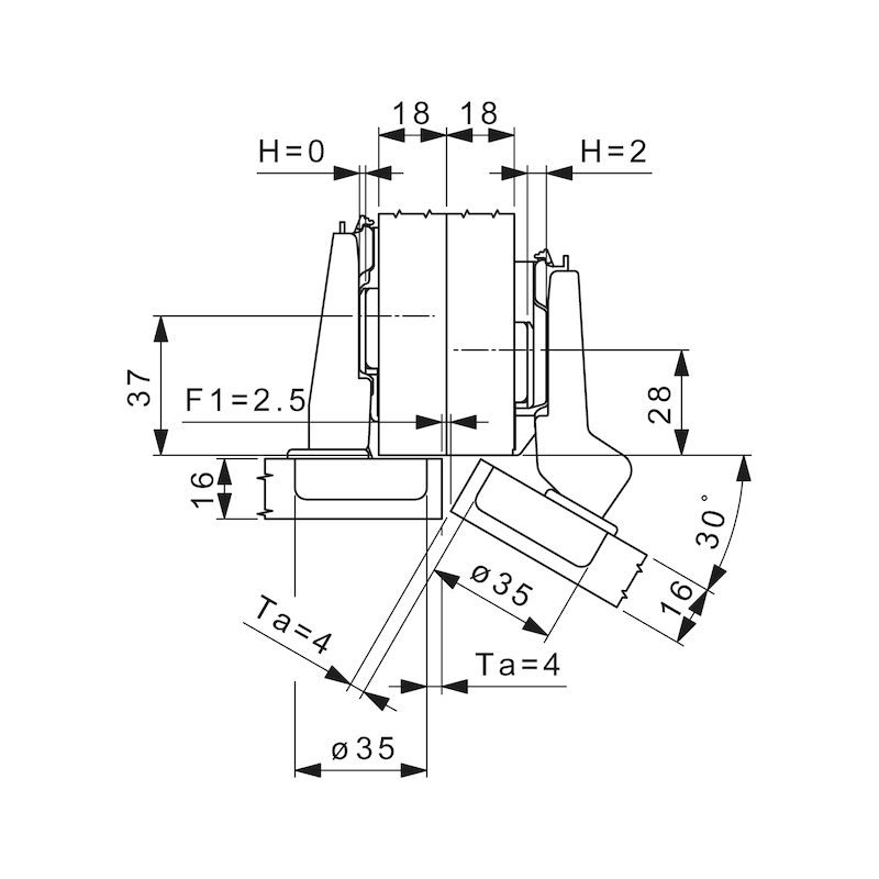Topfscharnier Nexis Impresso 95 / 30 A - SHAN-NEXIMP-45/48-AUFLG-(NI)-95/30GRD
