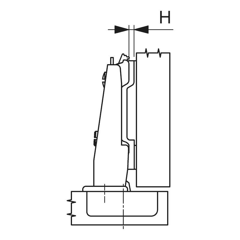 Concealed hinge, Nexis Impresso 125 - HNGE-NEXIMP-52/5,5-CRN-(NI)-125DGR